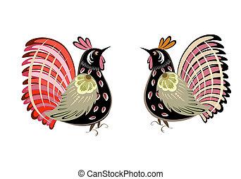 komplet, dekoracyjny, ptak