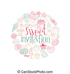 komplet, desery, słodycze, wektor, ciasto, karta, -invitation