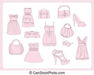 komplet, doodle, fason, odzież