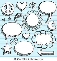komplet, doodle, mowa, układa, bańki, 3d