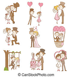komplet, doodle, szambelan królewski, -, panna młoda, wektor, projektować, album na wycinki, zaproszenie, ślub, elementy