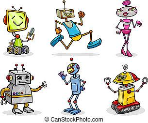 komplet, droids, roboty, ilustracja, rysunek, albo