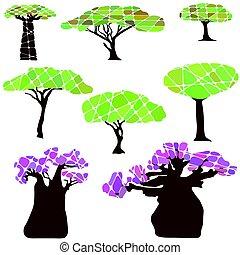 komplet, drzewo, liście, barwny