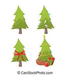 komplet, drzewo, zbiór, wektor, projektować, boże narodzenie