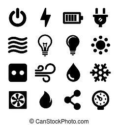 komplet, elektryczny, ikony