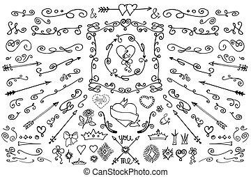 komplet, element., miłość, dekoracje, doodle, strzały