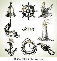 komplet, elements., ręka, projektować, morze, morski, ilustracje, pociągnięty