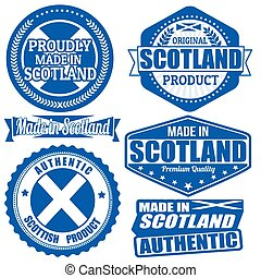 komplet, etykiety, szkocja, pieczęcie, robiony, tekst