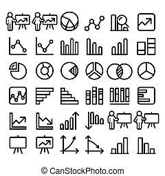 komplet, finanse, ikony, cielna, -, pasztetowy wykres, handlowy, wykres, pojęcie, czarnoskóry, kreska, prezentacja, opakujcie