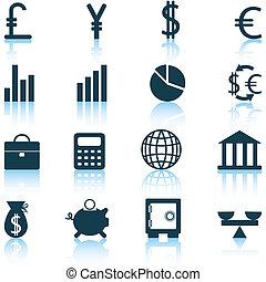 komplet, finansowe ikony