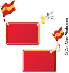 komplet, flag., ułożyć, dwa, wiadomość, sport, hiszpania