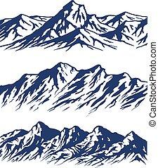 komplet, góra, sylwetka, skala