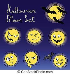 komplet, halloween, księżyc, twarze