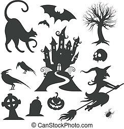 komplet, halloween, wektor, różny, zaprojektujcie elementy