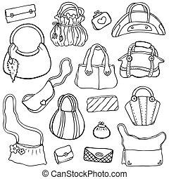 komplet, handbags., ręka, 3, wektor, pociągnięty, damski