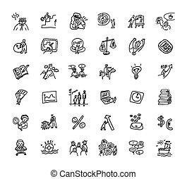 komplet, handlowe ikony, czarnoskóry, doodles, biały