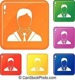 komplet, handlowe ikony, kolor, wektor, garnitur, człowiek