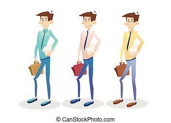 komplet, handlowy, młody, zbiór, dyrektor, walizka, biznesmen, utrzymywać, dokument, człowiek