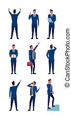 komplet, handlowy, pozycje, zbiór, długość, pełny, biznesmen, człowiek, ikona