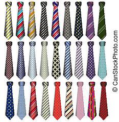 komplet, handlowy, tło, krawaty, biały samczyk