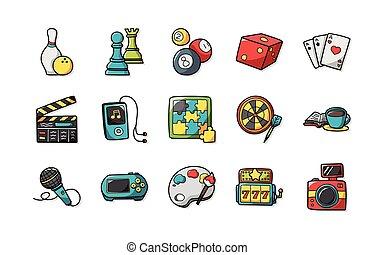komplet, hobby, wolny czas, ikony, eps10