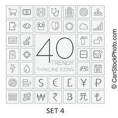 komplet, icons., 4., 40, kreska, cienki