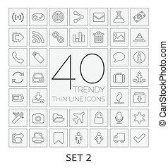 komplet, icons., 40, kreska, 2., cienki