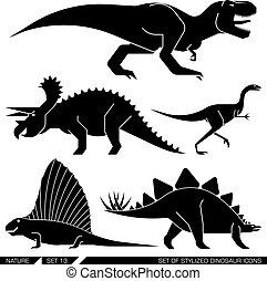 komplet, icons., stylizowany, dinozaur, wektor, geometrycznie