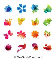 komplet, ikona, barwny, natura