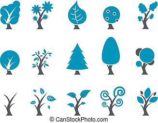 komplet, ikona, drzewa