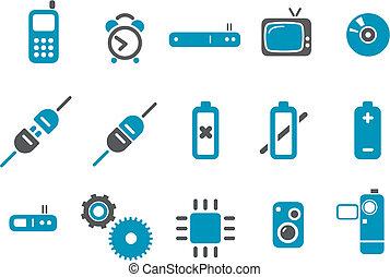 komplet, ikona, elektronowy