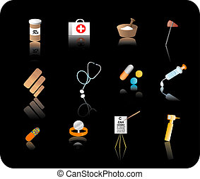 komplet, ikona, medyczny