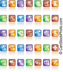 komplet, ikona, odbicie, medyczny