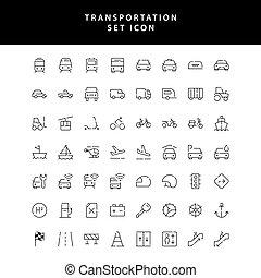 komplet, ikona, przewóz, szkic