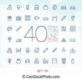 komplet, ikony, 16, 40, cienki, modny