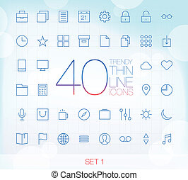 komplet, ikony, 40, 1, cienki, modny