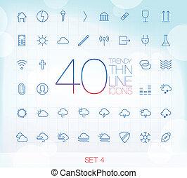 komplet, ikony, 40, cienki, modny, 4
