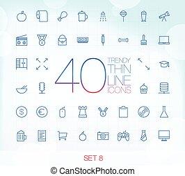 komplet, ikony, 40, cienki, modny, 8