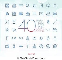 komplet, ikony, 40, modny, cienki, 9
