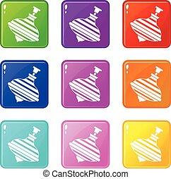 komplet, ikony, górny, carousel, 9, brzęczący