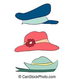 komplet, ikony, kapelusze, zbiór, mężczyźni, wektor, dzieci, kobiety