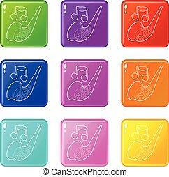 komplet, ikony, kolor, zbiór, saksofon, 9