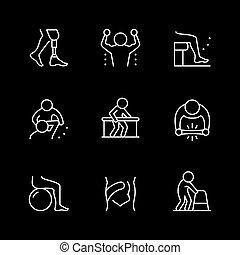 komplet, ikony, kreska, fizykoterapia