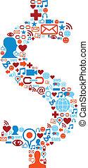 komplet, ikony, media, symbol, dolar, towarzyski