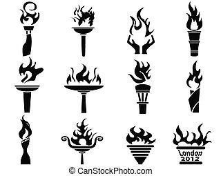 komplet, ikony, ogień, pochodnia, płomień, czarnoskóry
