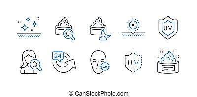 komplet, ikony, problem, piękno, słońce, taki, uv, nie, protection., skóra, wektor