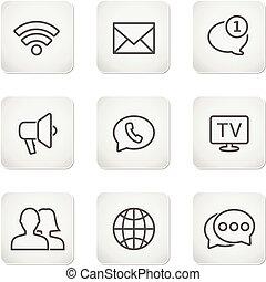 komplet, ikony, ruchomy, -, pikolak, kontakt