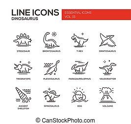 komplet, ikony, species-, dinozaury, projektować, kreska