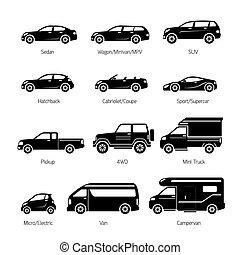 komplet, ikony, wóz, obiekty, wzór, typ
