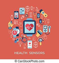 komplet, ikony, wektor, zdrowie, cyfrowy, sensor